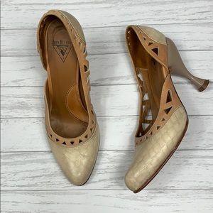 John Fluevog Tan Leather Pumps Sculpted heels